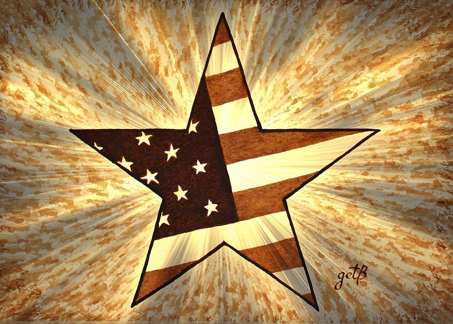 Independence Day Stary American Flag Painting
