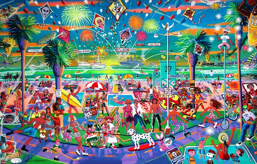 Independence Day Venice Style Painting  - Independence Day Venice Style Fine Art Print