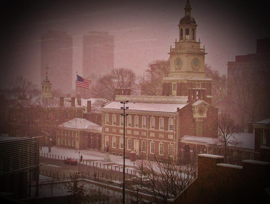 Independence Hall In The Snow Photograph