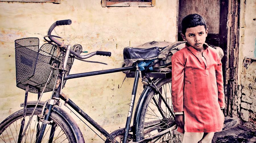 Indian Boy With Cycle Photograph  - Indian Boy With Cycle Fine Art Print