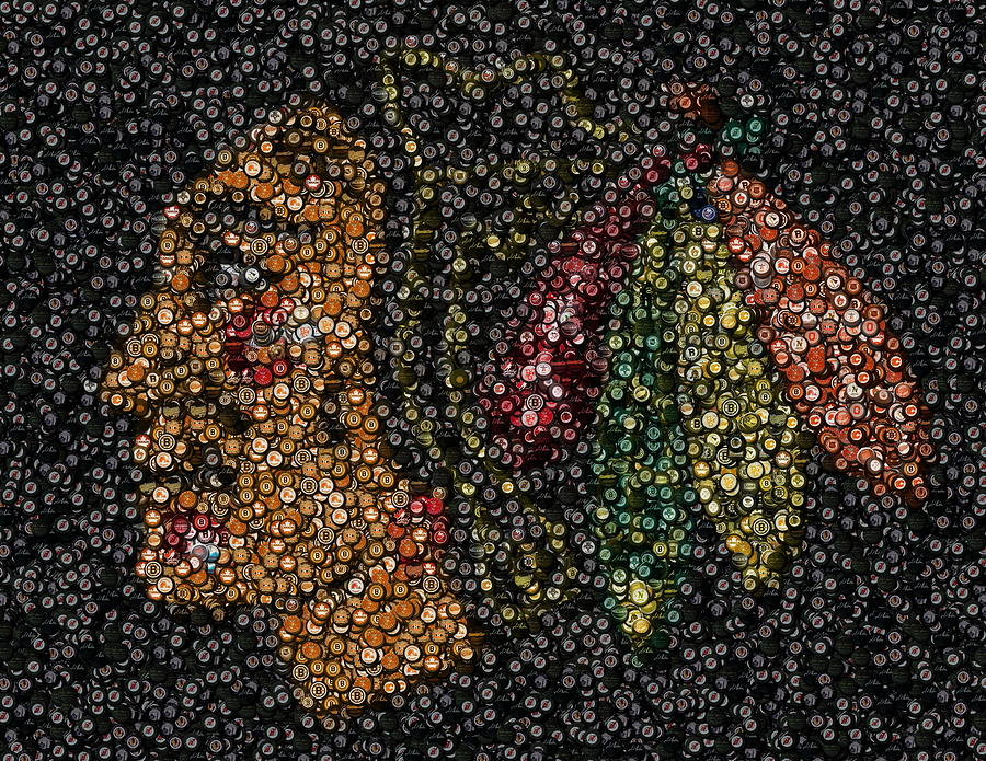 Indian Hockey Puck Mosaic Mixed Media