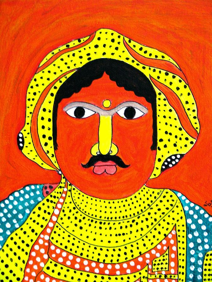Indian Tribal Man Painting  - Indian Tribal Man Fine Art Print