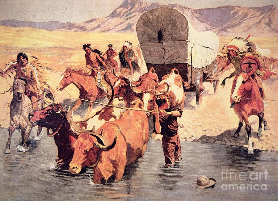 Indians Attacking A Pioneer Wagon Train Painting
