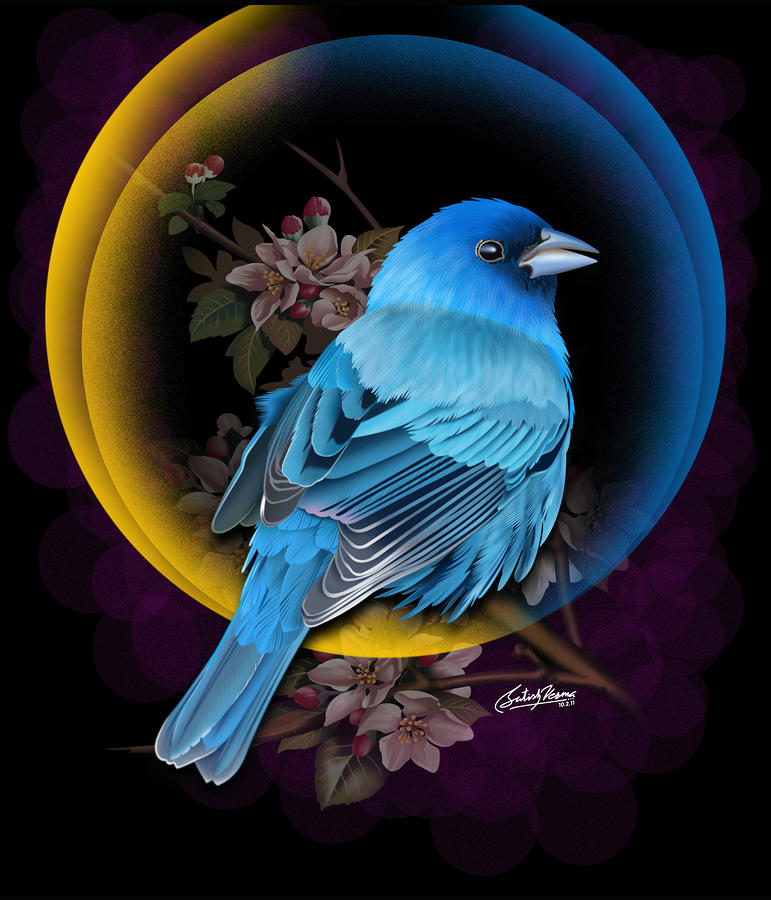 Indigo Bunting Mixed Media