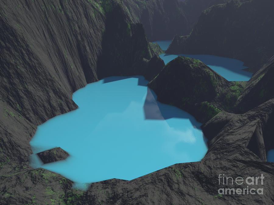 Indonesian Crater Lakes Digital Art