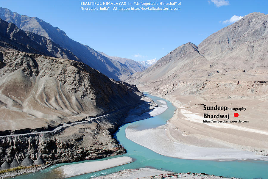 Indus River Sangam Or Meeting Point In Himalayas Of Incredible India Painting