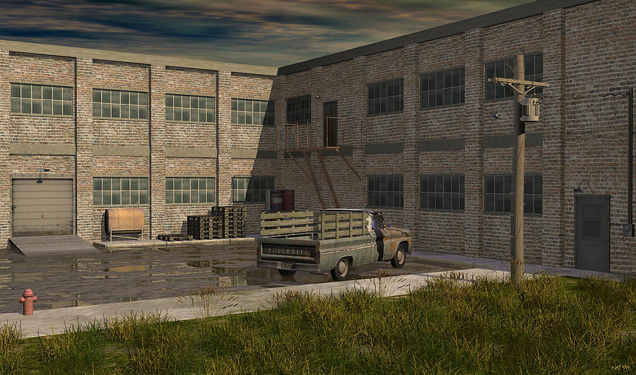 Industrial Courtyard Digital Art