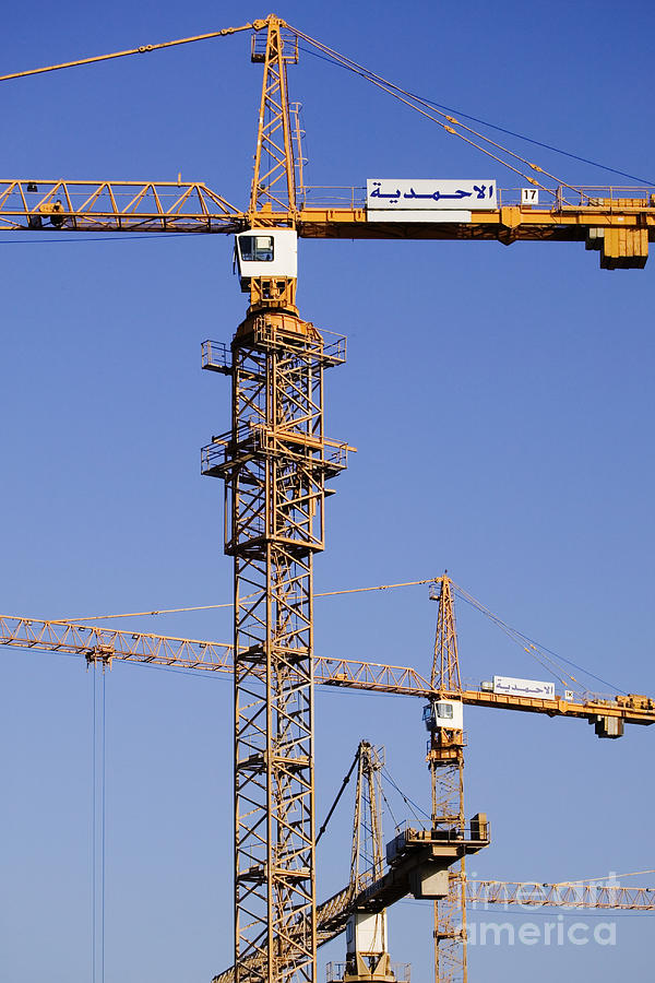 Blue Skies Photograph - Industrial Cranes by Jeremy Woodhouse