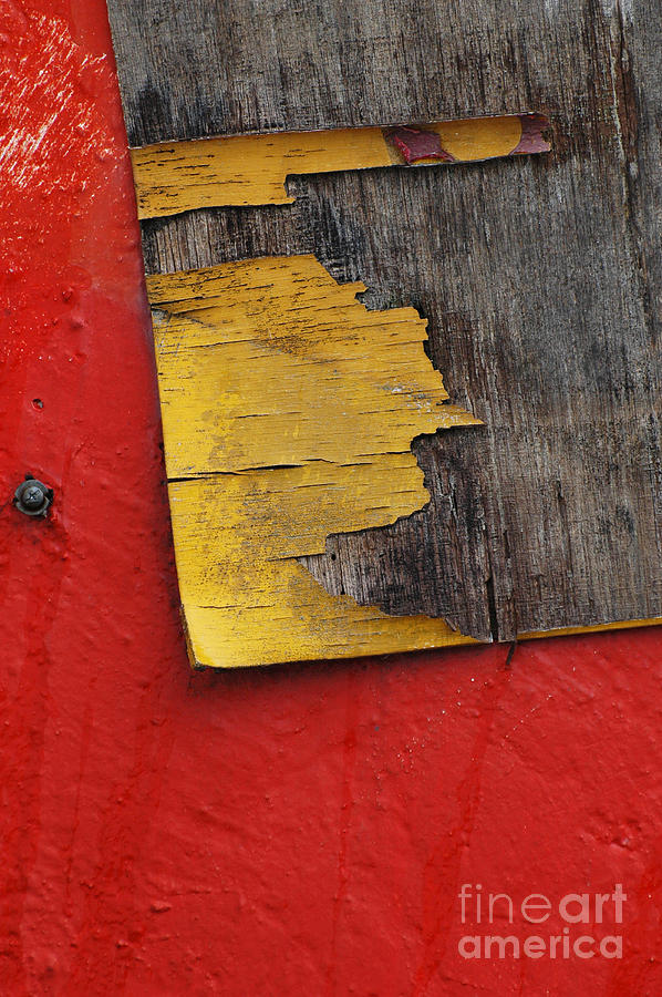 Industrial Red Wall Abstract Photograph
