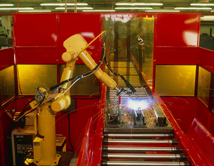 Industrial Robot Welding On Production Line Photograph  - Industrial Robot Welding On Production Line Fine Art Print