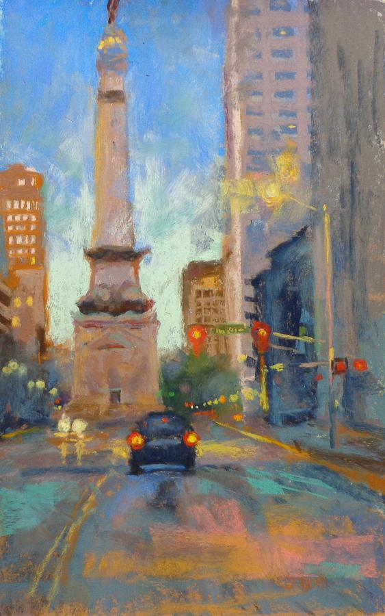 Indy Monument At Twilight Painting  - Indy Monument At Twilight Fine Art Print