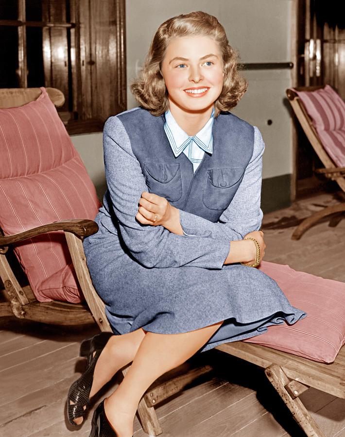 Ingrid Bergman Lounges On Ship Deck Photograph