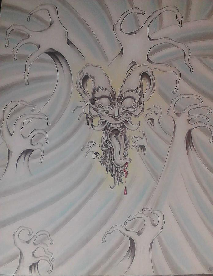 Ink And Pastel Oriental Style Dragon And Waves Drawing