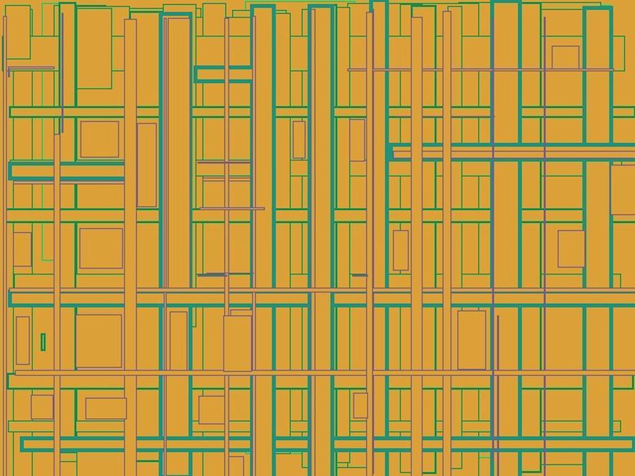 Grid Painting - Inner Plumbing by Naomi Susan Schwartz Jacobs
