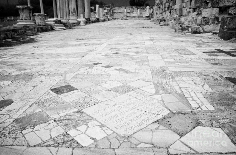 Inscription In The Floor Tile Of The Gymnasium Stoa Ancient Site Of Salamis Famagusta  Photograph  - Inscription In The Floor Tile Of The Gymnasium Stoa Ancient Site Of Salamis Famagusta  Fine Art Print
