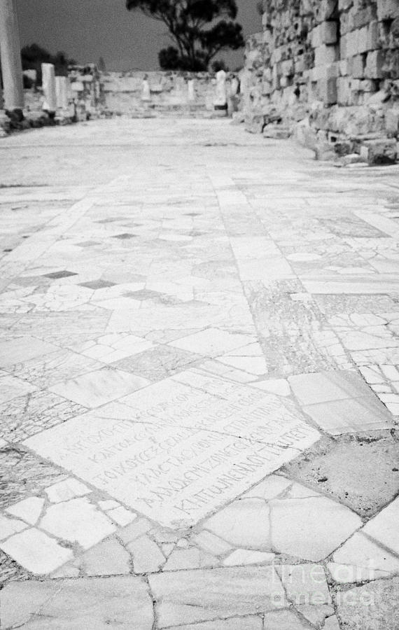 Inscription In The Floor Tile Of The Gymnasium Stoa Ancient Site Salamis Famagusta Photograph  - Inscription In The Floor Tile Of The Gymnasium Stoa Ancient Site Salamis Famagusta Fine Art Print