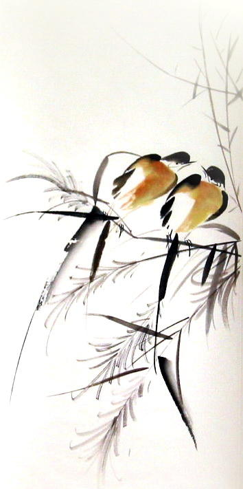 Free Style Chinese Painting Painting - Inseparable Couple by Ming Yeung