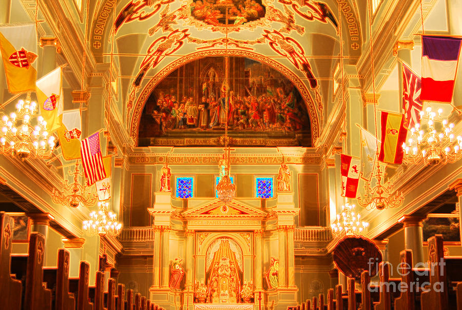 Inside St Louis Cathedral Jackson Square French Quarter New Orleans Accented Edges Digital Art Digital Art  - Inside St Louis Cathedral Jackson Square French Quarter New Orleans Accented Edges Digital Art Fine Art Print