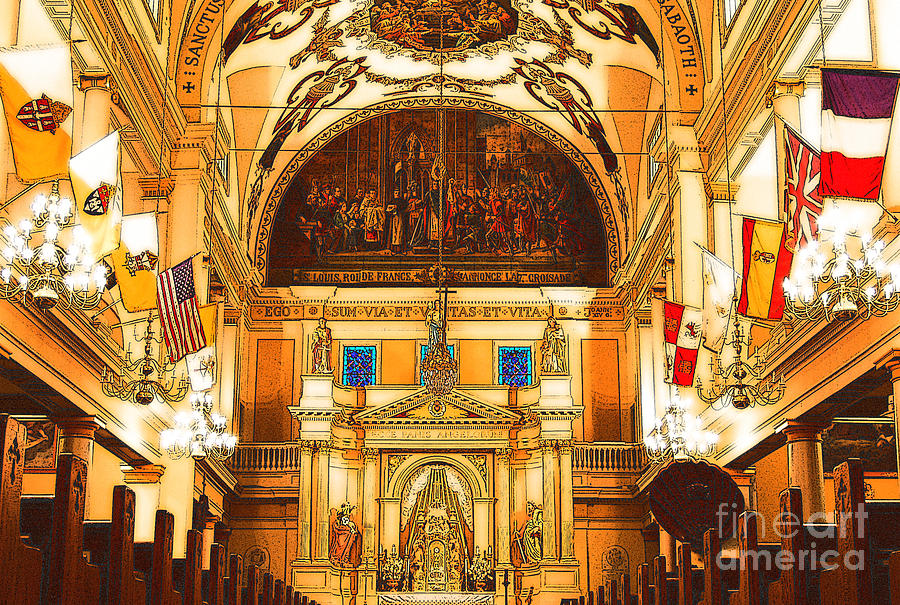 Inside St Louis Cathedral Jackson Square French Quarter New Orleans Digital Art Digital Art  - Inside St Louis Cathedral Jackson Square French Quarter New Orleans Digital Art Fine Art Print