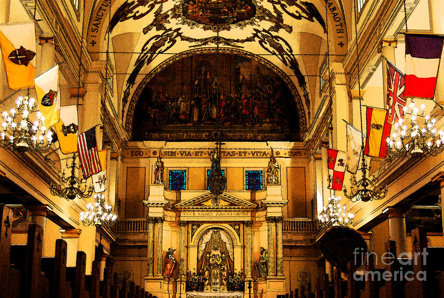 Inside St Louis Cathedral Jackson Square French Quarter New Orleans Fresco Digital Art Digital Art