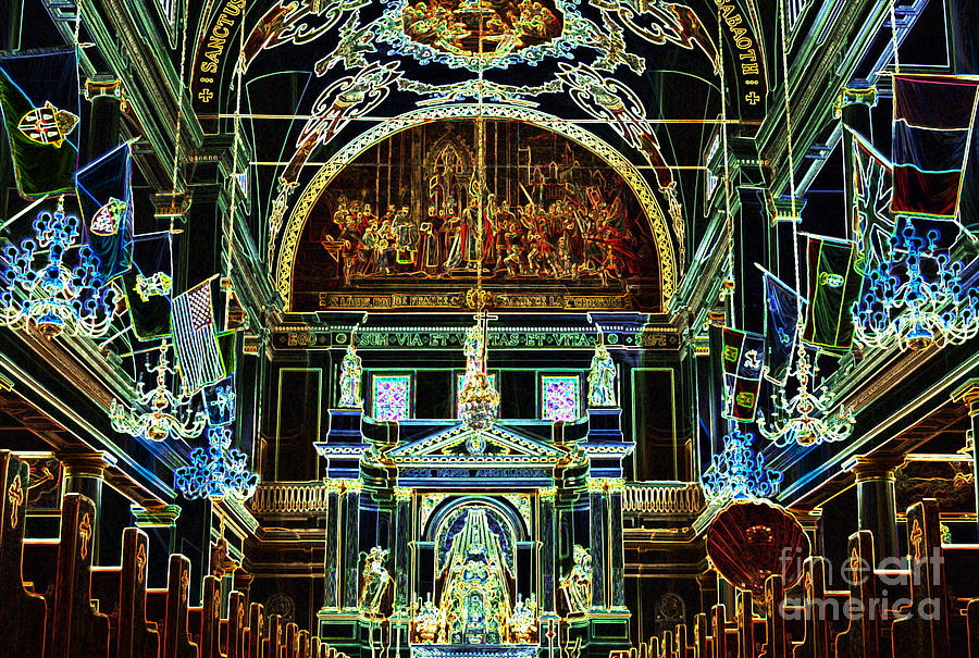 New Orleans Digital Art - Inside St Louis Cathedral Jackson Square French Quarter New Orleans Glowing Edges Digital Art by Shawn OBrien