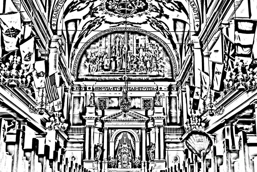 Inside St Louis Cathedral Jackson Square French Quarter New Orleans Photocopy Digital Art Digital Art  - Inside St Louis Cathedral Jackson Square French Quarter New Orleans Photocopy Digital Art Fine Art Print