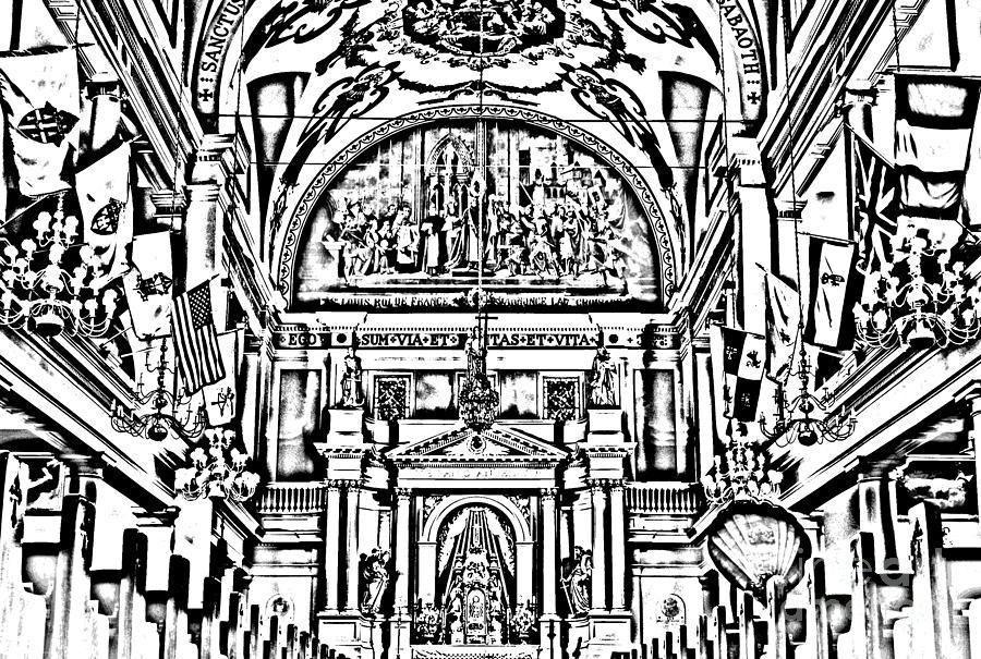 Inside St Louis Cathedral Jackson Square French Quarter New Orleans Photocopy Digital Art Digital Art