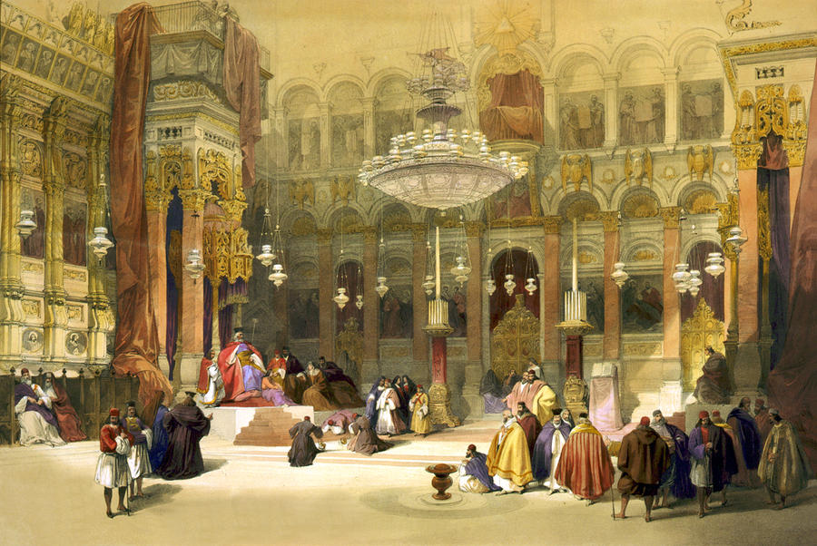 Inside The Church Of The Holy Sepulchre Drawing