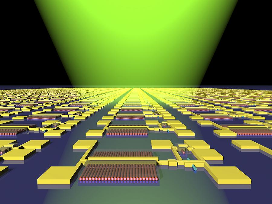 Electronic Circuit Photograph - Integrated Nanowire Circuit, Artwork by Lawrence Berkeley National Laboratory