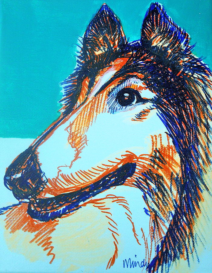 Interested Collie Painting  - Interested Collie Fine Art Print