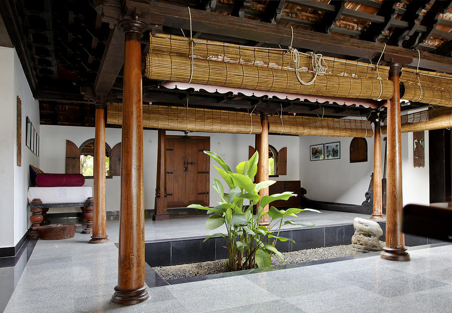 interior design of daylight courtyard in Kerala b Photograph
