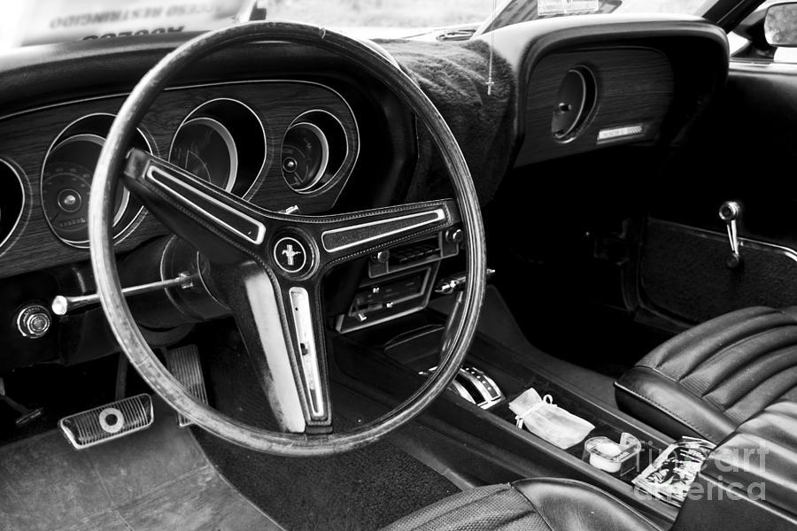 interior of a vintage car black white photograph. Black Bedroom Furniture Sets. Home Design Ideas
