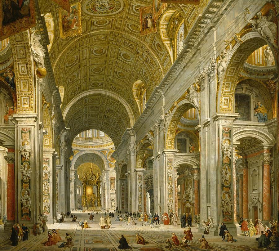 Interior Of St. Peters - Rome Painting  - Interior Of St. Peters - Rome Fine Art Print
