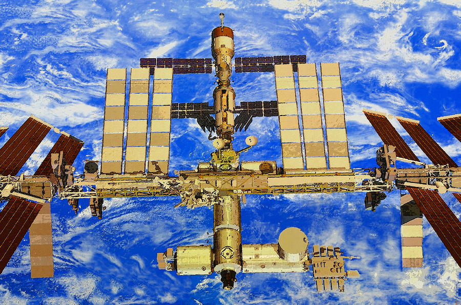 International Space Station Painting by David Lee Thompson