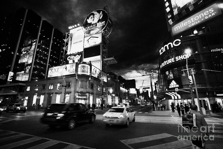 Intersection Of Yonge And Dundas At Night Yonge-dundas Square Toronto Ontario Canada Photograph  - Intersection Of Yonge And Dundas At Night Yonge-dundas Square Toronto Ontario Canada Fine Art Print