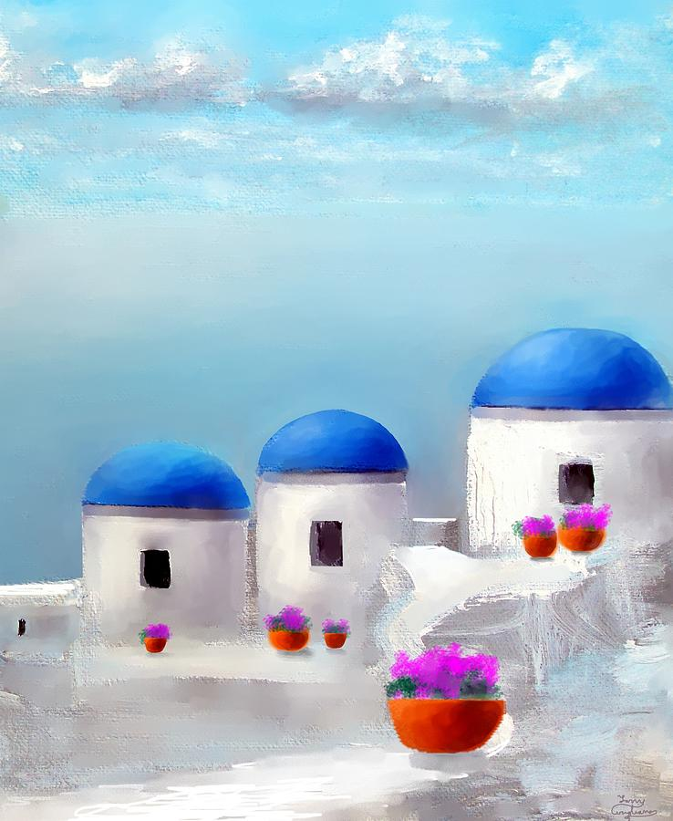 Into The Heavens Santorini Painting  - Into The Heavens Santorini Fine Art Print