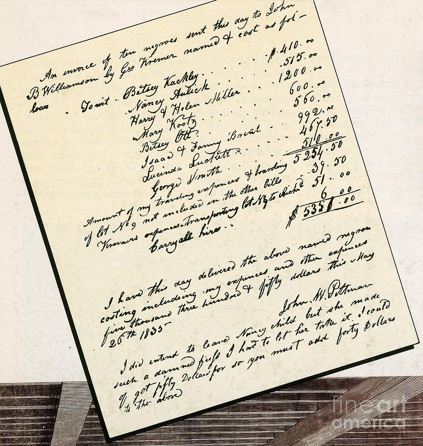 Invoice Of A Sale Of Black Slaves Photograph
