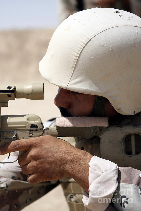 Aiming Photograph - Iraqi Army Sergeant Sights by Stocktrek Images