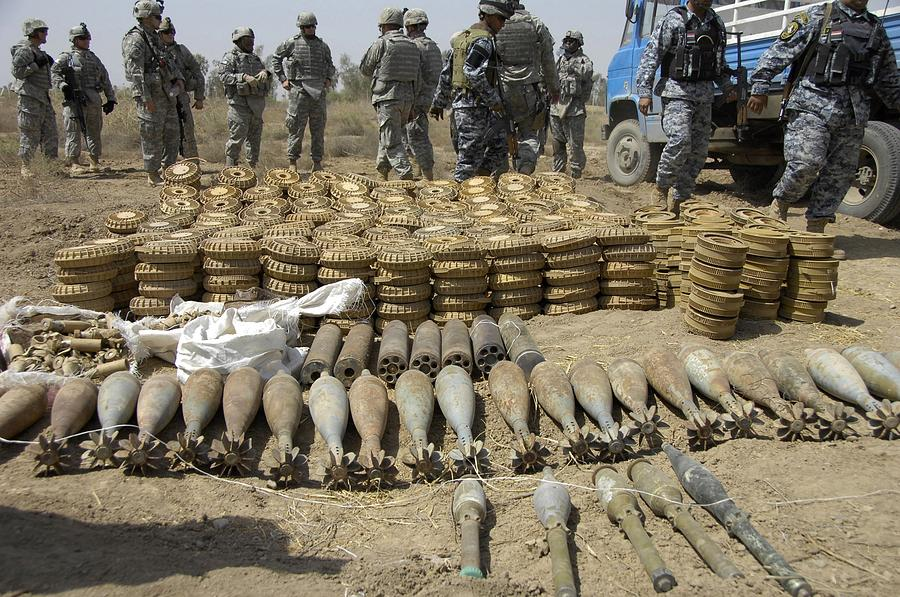 Iraqi National Police And Us Soldiers Photograph