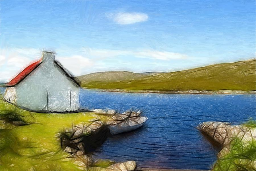 Oil Pastel Ireland Beauty Country Countryside Painting Landscape Cottage Old House Lake Boat Romance Water Green Grass Mountain Expressionism Impressionism  Pastel - Irelands Beauty by Steve K