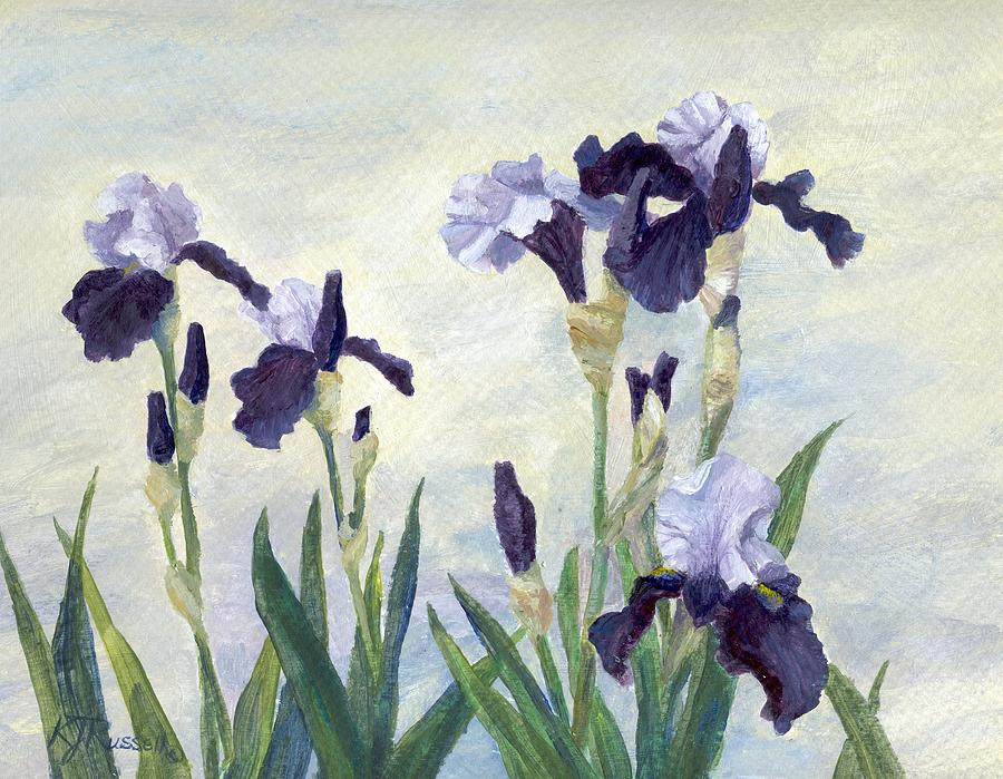 Irises Beautiful Flowers Painting Floral Art Painting  - Irises Beautiful Flowers Painting Floral Art Fine Art Print
