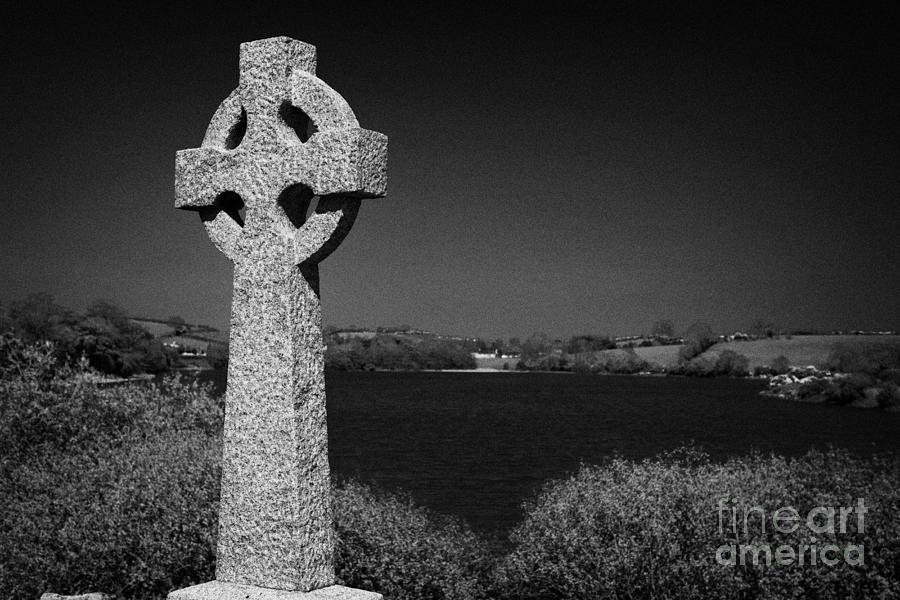 Irish Celtic Cross Overlooking Lake Photograph