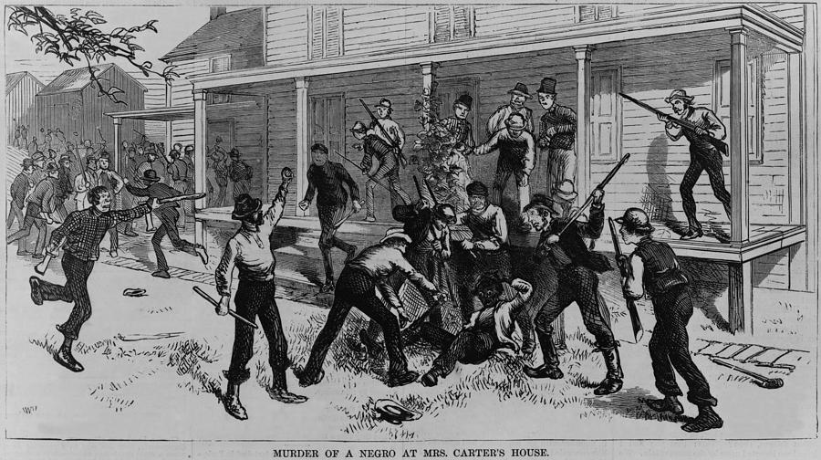 History Photograph - Irish Laborers Killing An African by Everett