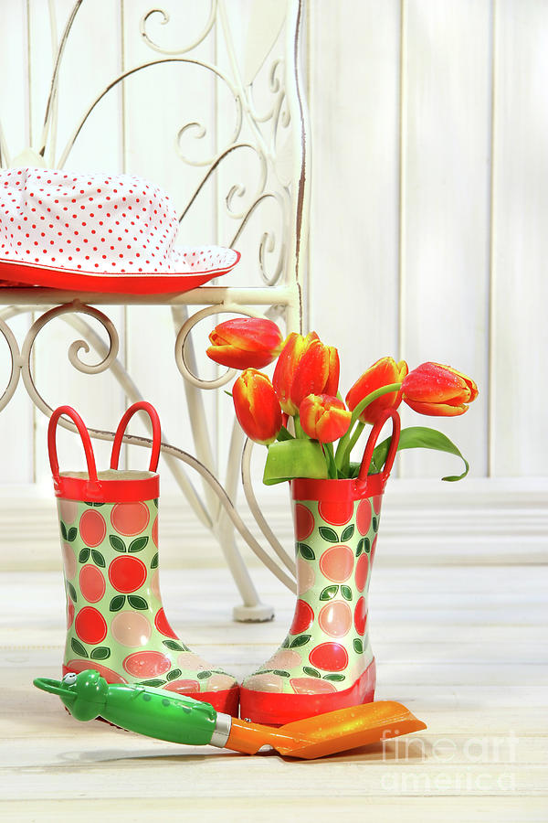 Iron Chair With Little Rain Boots And Tulips  Photograph