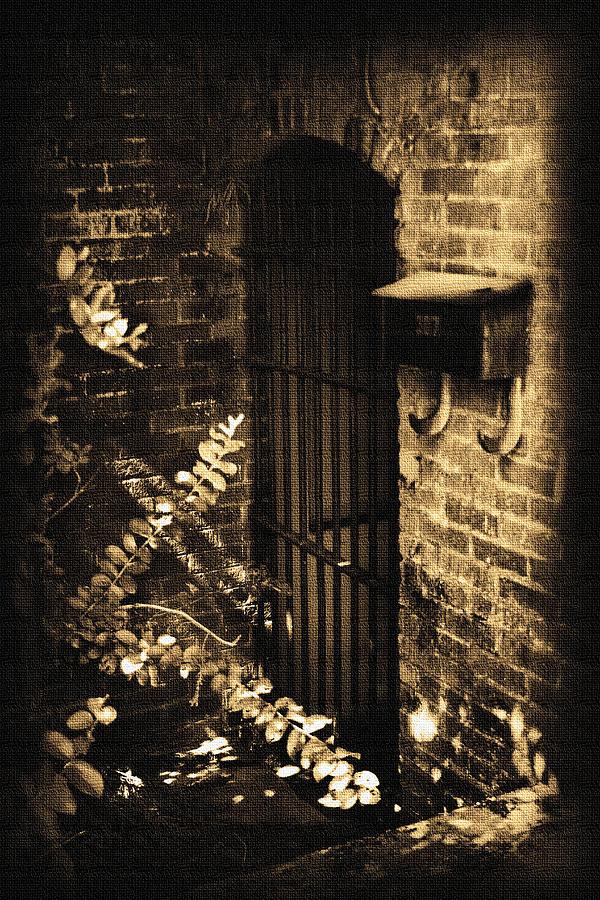 Iron Door Sepia Photograph