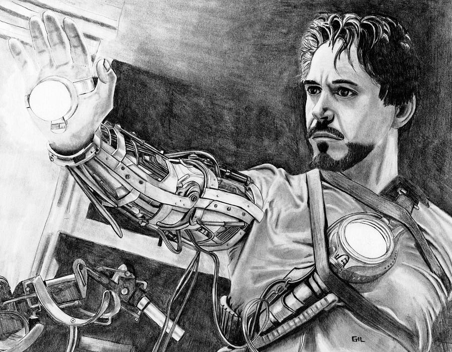 Iron Man Drawing - Iron Man by Gil Fong