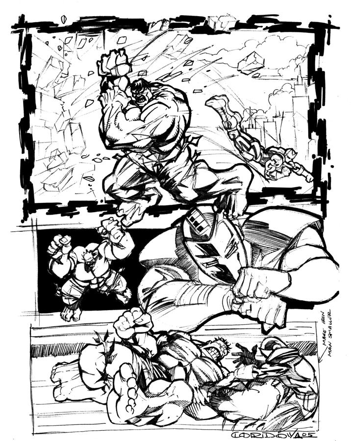 Ironman Vs Hulk Drawing  - Ironman Vs Hulk Fine Art Print