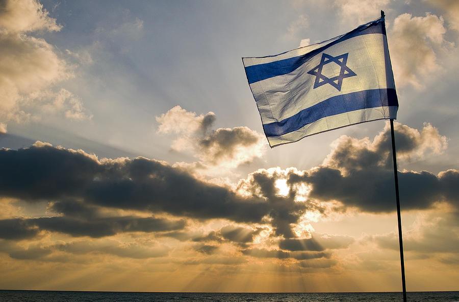 Israeli Flag And Sunset Photograph