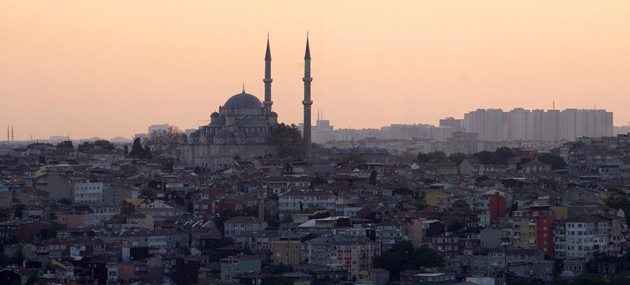 Istanbul Cityscape At Sunset Photograph