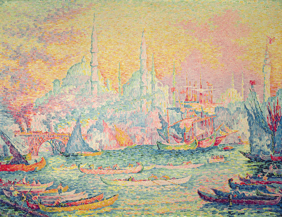 Neo-impressionist; Pointillist; Landscape; Hagia; Byzantine Architecture; Rowing Boat; Minaret; Constantinople Painting - Istanbul by Paul Signac